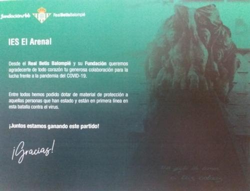 Agradecimiento del Real Betis Balompie al IES El Arenal.