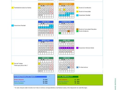 Calendario Escolar Provincia de Sevilla 21/22.