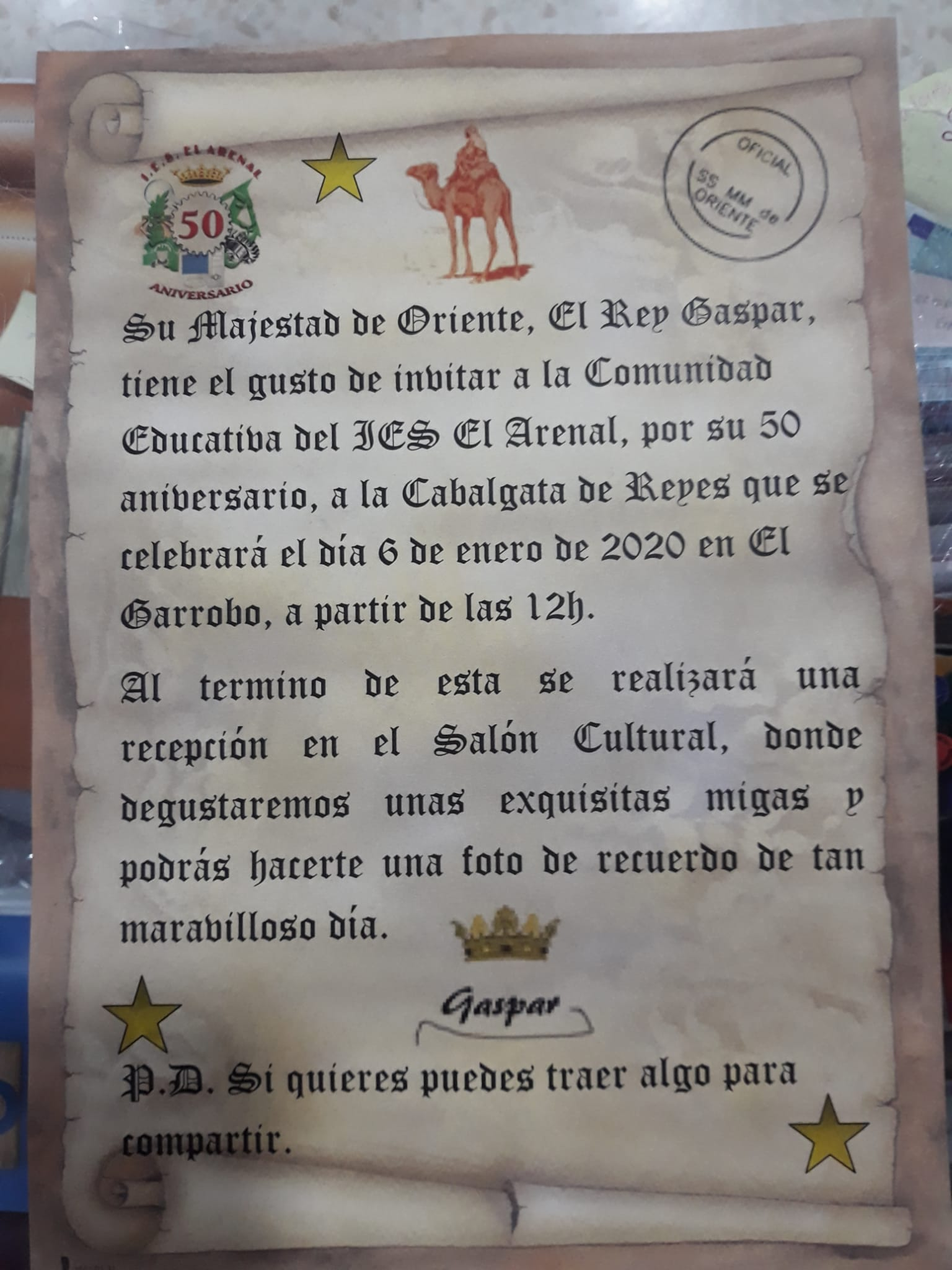 Invitación de su Majestad el Rey Gaspar a la cabalgata de El Garrobo.