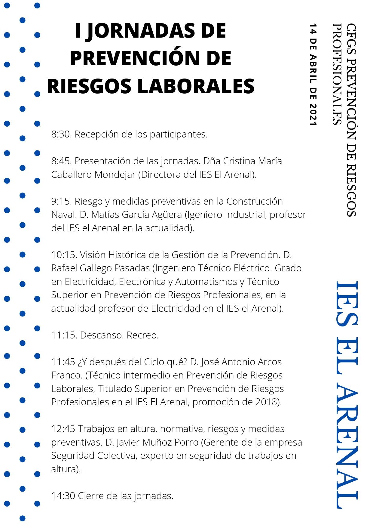 I Jornadas de Prevención de Riesgos Laborales. IES El Arenal.