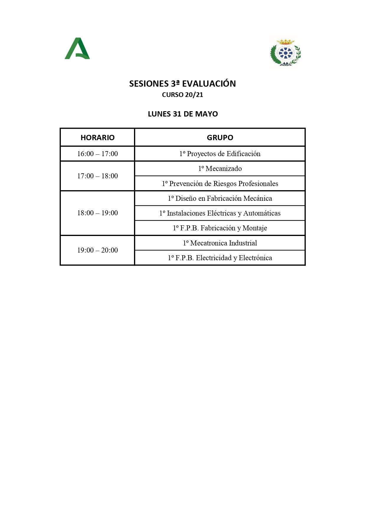 Horarios sesiones tercera evaluación.